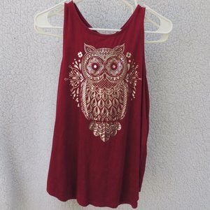 New W/Out Tags Maroon Tank Top Silver owl Decal